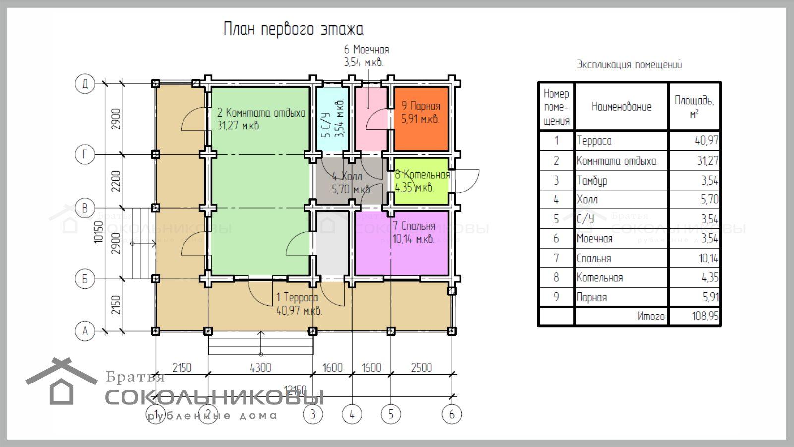 Дом из бревна ручной рубки под скобель, 109 кв. м, фото 1