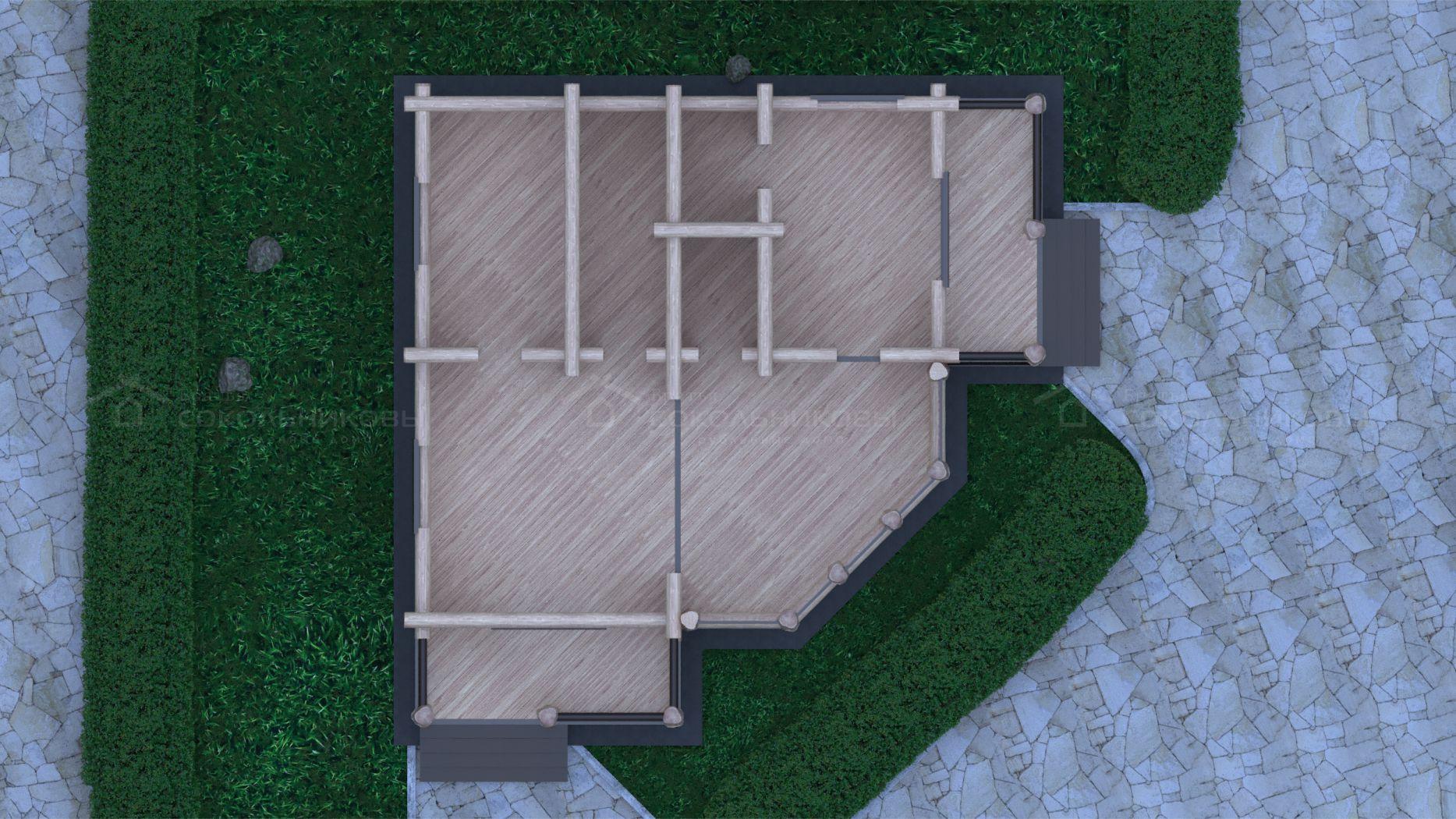 Рубленный дом с элементами Post and Beam, 115 кв. м, фото 7