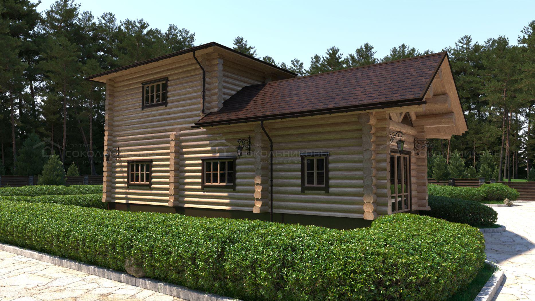 Рубленный дом с элементами Post and Beam, 150 кв. м, фото 5